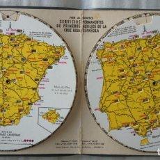 Coleccionismo Papel Varios: MAPA DISTANCIAS ENTRE CIUDADES MERCK. SERVICIOS PERMANENTES CRUZ ROJA ESPAÑOLA 1958. Lote 139592646