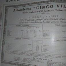 Coleccionismo Papel Varios: AUTOMOVILES CINCO VILLAS 1926. Lote 139650506