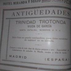 Coleccionismo Papel Varios: MADRID ANTIGÜEDADES TRINIDAD TROTONDA 1926. Lote 139730334