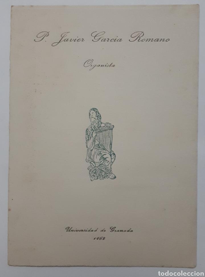 PROGRAMA DE CONCIERTO DE P. JAVIER GARCIA ROMANO. ORGANISTA. 1962 (Coleccionismo en Papel - Varios)