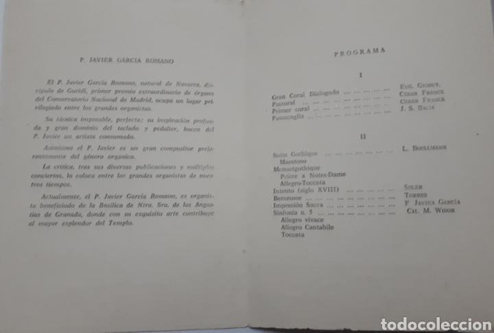 Coleccionismo Papel Varios: Programa de concierto de P. Javier Garcia Romano. Organista. 1962 - Foto 3 - 140446986