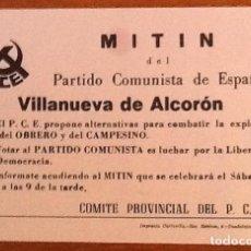 Outros artigos de papel: PCE. OCTAVILLA MITIN PARTIDO COMUNISTA DE ESPAÑA EN VILLANUEVA DE ALCORON,,GUADALAJARA. 1977. Lote 140457198