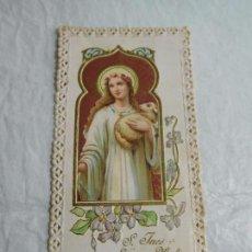 Coleccionismo Papel Varios: M69 TARJETA RELIGIOSA RECORDATORIO 1915-1919. SANTA INÉS. ART DECÓ. UNA JOYA.. Lote 140517706