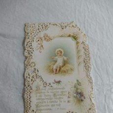 Coleccionismo Papel Varios: M69 TARJETA RELIGIOSA RECORDATORIO 1910. ART DECO. CON PUNTILLA. UNA JOYA.. Lote 140517950
