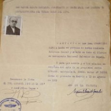 Coleccionismo Papel Varios: CERTIFICADO BUENA CONDUCTA 1939. Lote 140594038