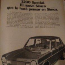 Coleccionismo Papel Varios: AÑO 1973 RECORTE PRENSA PIBLICIDAD SIMCA 1200 ESPECIAL. Lote 140655821