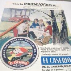 Coleccionismo Papel Varios: RECORTE PUBLICIDAD AÑOS 70 - 80 - QUESO EL CASERIO - DIBUJO FAMILIA CAMPING Y SEAT 600. Lote 141199518