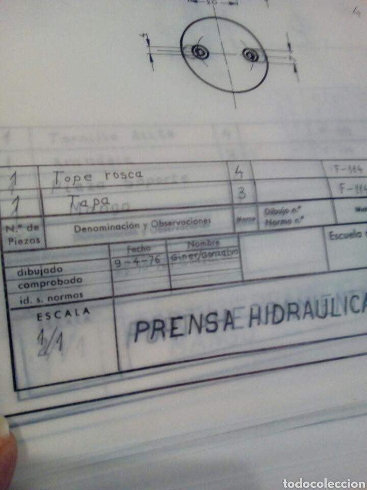 Coleccionismo Papel Varios: Planos en papel vegetal prensa hidráulica años 70 - Foto 3 - 141255897