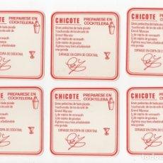 Coleccionismo Papel Varios: LOTE DE 6 POSAVASOS PEDRO CHICOTE. MADRID. CON RECETA DE COCKTAIL. CIRCA 1960. Lote 143146978