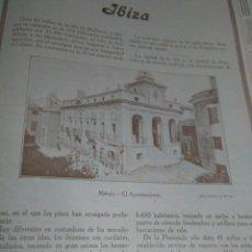 Coleccionismo Papel Varios: IBIZA ARTICULO COMPLETO 1926 MAHON AYUNTAMIENTO VISTA GENERAL ANDEN DE PONIENTE CABRERA PUERTO . Lote 142435006
