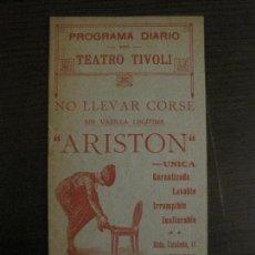 Coleccionismo Papel Varios: PROGRAMA DIARIO DE TEATRO-TEATRO TIVOLI-27 DE MAYO DE 1916-ZARZUELA Y OPERETA-VER FOTOS(V-15.429). Lote 142604602