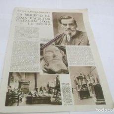 Coleccionismo Papel Varios: RECORTE PUBLICIDAD AÑO 1934 - HA MUERTO EL GRAN ESCULTOR CATALAN JOSE LLIMONA. Lote 142801130