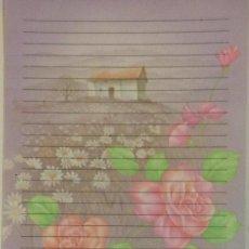 Coleccionismo Papel Varios: CARTAS PERFUMADAS - CONJUNTO DE HOJA Y SOBRE - FLORES CASITA MORADA SHINN JEE 361. Lote 143109002