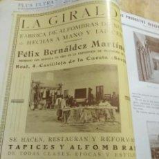 Coleccionismo Papel Varios: SEVILLA LA GIRALDA FELIX BERNALDEZ MARTIN FABRICA DE ALFOMBRAS 1927. Lote 144149362