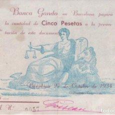 Coleccionismo Papel Varios: PAPEL MONEDA DE BROMA - BANCA GANDO 1934 BARCELONA - FIRMADO Y ENUMERADO 0057. Lote 144201906