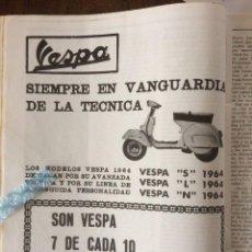 Coleccionismo Papel Varios: PUBLICIDAD MOTO VESPA DE 1963. Lote 144793794