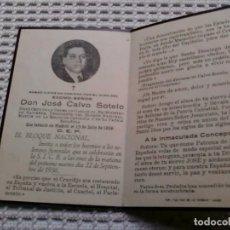 Coleccionismo Papel Varios: RECORDATORIO. DÍPTICO . JOSÉ CALVO SOTELO .FUNERAL LUGO . SETIEMBRE 1936. Lote 145265958