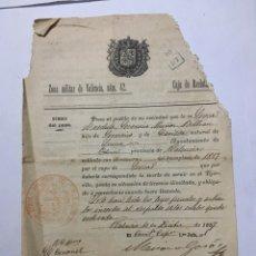 Coleccionismo Papel Varios: ZONA MILITAR DE VALENCIA, NUM. 42. CAJA DE RECLUTAS. VALENCIA, 10 DICIEMBRE 1887.. Lote 145362450