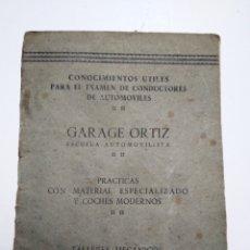 Coleccionismo Papel Varios: GARAGE ORTIZ. BILBAO. ESCUELA AUTOMOVILISTICA. TALLERES MECANICOS. AÑOS 20.. Lote 145591264
