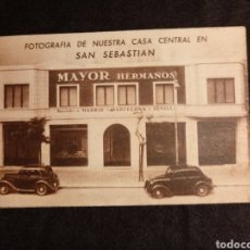 Coleccionismo Papel Varios: TARJETA COMERCIAL MAYOR HERMANOS SRC. SAN SEBASTIAN, CECILIO GARAYOA PAMPLONA. MAQUINAS HERRAMIENTA,. Lote 145911438