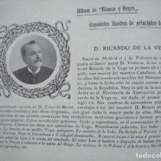 Coleccionismo Papel Varios: RICARDO DE LA VEGA.-MADRID.-ESCRITOR.-BELLAS ARTES.-FICHA.-AÑO 1904.. Lote 145913706