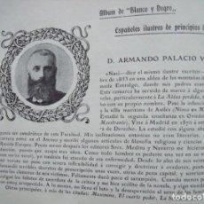Coleccionismo Papel Varios: ARMANDO PALACIO VALDES.-ENTRALGO.-ASTURIAS.-ESCRITOR.-FICHA.-AÑO 1904.. Lote 145916254
