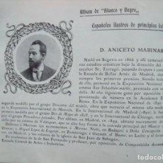 Coleccionismo Papel Varios: ANICETO MARINAS.-SEGOVIA.-BELLAS ARTES.-FICHA.-AÑO 1904.. Lote 145917510