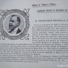 Coleccionismo Papel Varios: FRANCISCO PRADILLA.-VILLANUEVA DE GALLEGO.-ZARAGOZA.-PINTOR.-FICHA.-AÑO 1904.. Lote 145920138