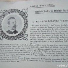 Coleccionismo Papel Varios: RICARDO BELLVER Y RAMON.-MADRID.-ESCULTOR.-FICHA.-AÑO 1904.. Lote 145920606