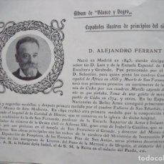 Coleccionismo Papel Varios: ALEJANDRO FERRANT.-MADRID.-PINTOR.-ESCULTOR.-GRABADOR.-FICHA.-AÑO 1904.. Lote 145921230