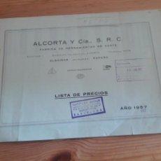 Coleccionismo Papel Varios: ALCORTA Y CIA SRC FABRICA DE HERRAMIENTAS DE CORTE ELGOIBAR GUIPUZCOA 1957 ARENY BARCELONA. Lote 146233584