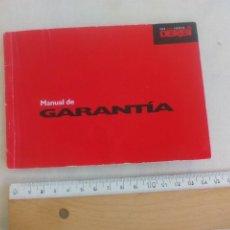 Coleccionismo Papel Varios: MANUAL DE GARANTIA DE MOTO DERBI. . Lote 146280414