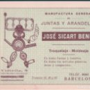 Coleccionismo Papel Varios: PUBLICIDAD MANUFACTURA GENERAL DE JUNTAS Y ARANDELAS JOSE SICART BENET - FELICITACION. Lote 146433730