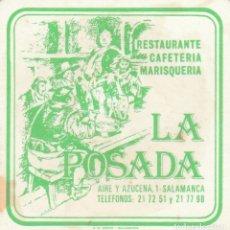 Coleccionismo Papel Varios: POSAVASOS - LA POSADA - RESTAURANTE MARISQUERIA - SALAMANCA - PUBLICITARIO - CARTULINA GRUESA . Lote 146525406