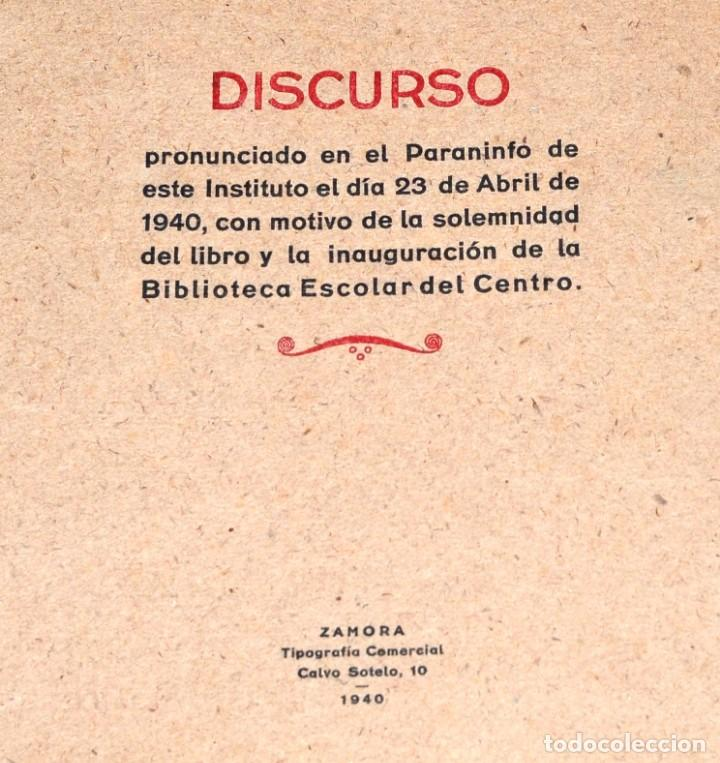 Coleccionismo Papel Varios: DISCURSO DE D. EUGENIO A. DE ASIS EN EL PARANINFO INSTITUTO DE ZAMORA 1940 Y FIRMAS DE ASISTENTES - Foto 2 - 146606846
