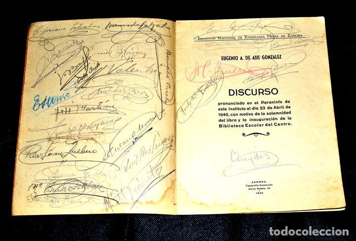 Coleccionismo Papel Varios: DISCURSO DE D. EUGENIO A. DE ASIS EN EL PARANINFO INSTITUTO DE ZAMORA 1940 Y FIRMAS DE ASISTENTES - Foto 3 - 146606846