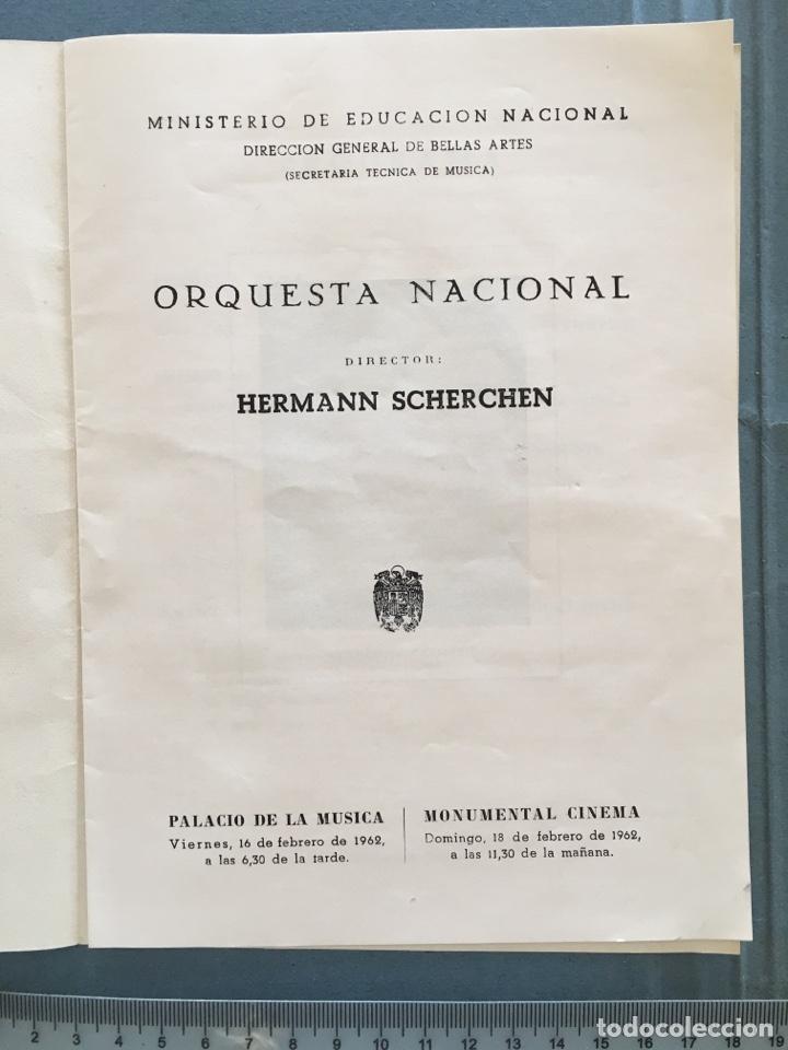 ORQUESTA NACIONAL. PALACIO DE LA MÚSICA. FEBRERO, 1962. (Coleccionismo en Papel - Varios)