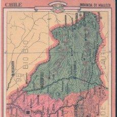 Coleccionismo Papel Varios: MAPA CHILE - PROVINCIA DE MALLECO 19 - REVERSO, LIMITES - EXTENSION - DIVISION - PRODUCTOS ... Lote 147057330