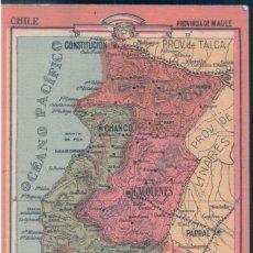 Coleccionismo Papel Varios: MAPA CHILE - PROVINCIA DE ARAUCO 20 - REVERSO, LIMITES - EXTENSION - DIVISION - PRODUCTOS .... Lote 147057846