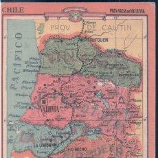 Coleccionismo Papel Varios: MAPA CHILE - PROVINCIA DE VALDIVIA 22 - REVERSO, LIMITES - EXTENSION - DIVISION - PRODUCTOS .. Lote 147058486