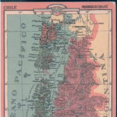 Coleccionismo Papel Varios: MAPA CHILE - PROVINCIA DE CHILOE 24 - REVERSO, LIMITES - EXTENSION - DIVISION - PRODUCTOS .... Lote 147058854