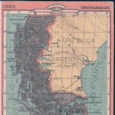 Coleccionismo Papel Varios: MAPA CHILE - PROVINCIA DE MAGALLANES 25 - REVERSO, LIMITES - EXTENSION - DIVISION - PRODUCTOS. Lote 147059182
