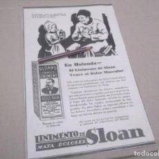 Coleccionismo Papel Varios: RECORTE PUBLICIDAD AÑOS 1929/30 - LINIMIENTO DE SLOAN (TIO BIGOTES) MATA DOLORES. Lote 147290346