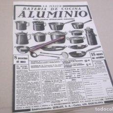 Coleccionismo Papel Varios: RECORTE PUBLICIDAD AÑOS 1929/30 - LA MEJOR BATERIA DE COCINA ALUMINIO - QUILLET - BARCELONA. Lote 147290586