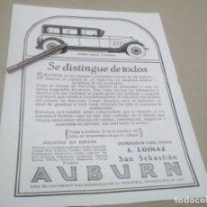 Coleccionismo Papel Varios: RECORTE AÑOS 1929/30 - AUTÓMOVILES SEDAN FAETON - AUBURN AUTOMOBILE .S.LOINAZ .SAN SEBASTIAN. Lote 147291382