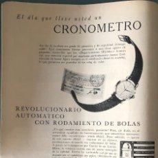 Coleccionismo Papel Varios: PUBLICIDAD EN PRENSA DE RELOJES ETERNA-MATIC. ORIGINAL AÑO 1954. GRAN TAMAÑO: 26 X 36 CM.. Lote 147309694