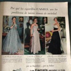 Coleccionismo Papel Varios: PUBLICIDAD EN PRENSA DE CAMEL, CHICAS FUMADORAS. ORIGINAL AÑO 1954. GRAN TAMAÑO: 26 X 36 CM.. Lote 147310542