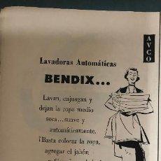 Coleccionismo Papel Varios: PUBLICIDAD EN PRENSA DE LAVADORAS BENDIX. ORIGINAL AÑO 1954. 13 X 36 CM.. Lote 147313098