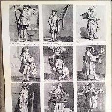 Coleccionismo Papel Varios: LOS OFICIOS MENORES : VENDEDOR DE PIELES DE CONEJO; VENDEDORA DE ESCOBAS; MATARRATAS; ETC. (HOJA SUE. Lote 147315494