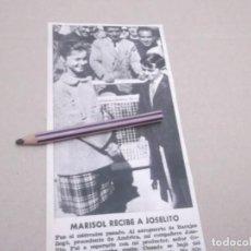 Coleccionismo Papel Varios: RECORTE ANTIGUO AÑOS 60/70 - MARISOL CON EL CANTANTE JOSELITO . Lote 147482142